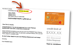 The confirmation number is highlighted at the top of the offer mailing.